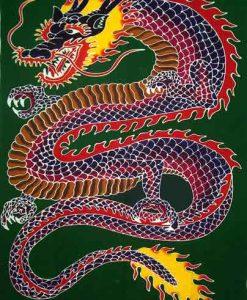 Hand-Painted Chinese Dragon Sarong