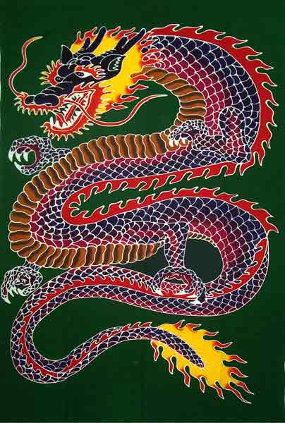 Hand-Painted Chinese Dragon Sarong