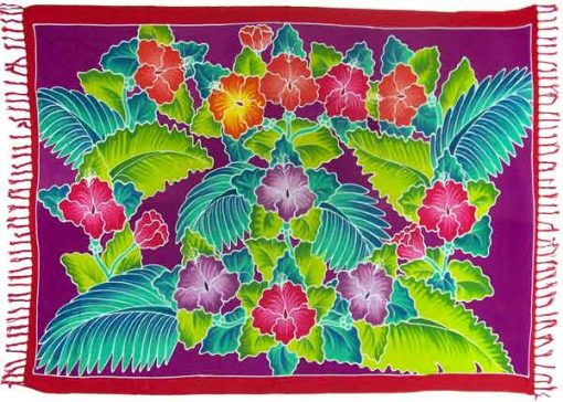 Tropical Foliage Sarong with Purple Background