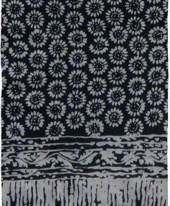 Black and Gray Sunflower Premium Batik Sarong