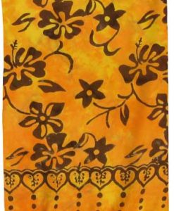 Gold & Brown Floral Artisan Batik Sarong in Premium Quality Rayon