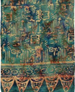 Green & Blue with Tan Ancient Script Artisan Batik Sarong