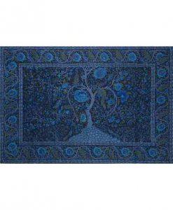 Tree of Life Tapestry Bedspread in Deep Blue