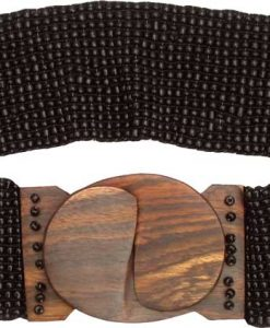 Black Beaded Belt with Wood Buckle