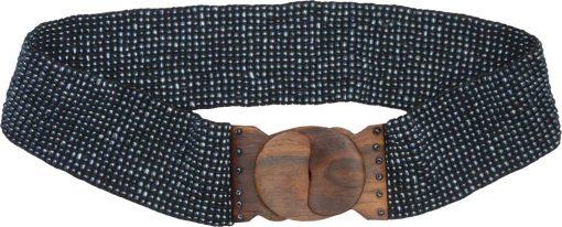 Hematite Color Beaded Belt with Wood Buckle
