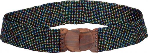 Multicolor Beaded Belt with Wood Buckle