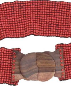 Red Beaded Belt with Wood Buckle