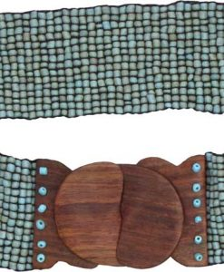 Turquoise Beaded Belt with Wood Buckle