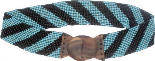 Beaded Belt with Wood Buckle, Turquoise and Black