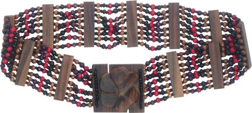 Beaded Belt with Purple and Red Wood Beads