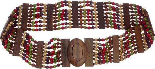 Beaded Belt with Red and Green Wood Beads
