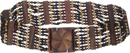 Beaded Belt with Brown and Black Wood Beads