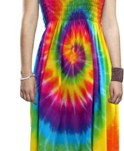 Adult Rainbow Spiral Tie Dye Dress, One Size