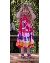 Girl`s Red Tie-Dye Dress with Tie Strap