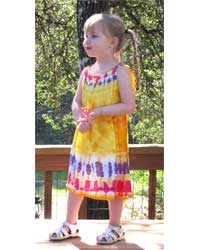 Girl`s Yellow Tie-Dye Dress with Tie Strap