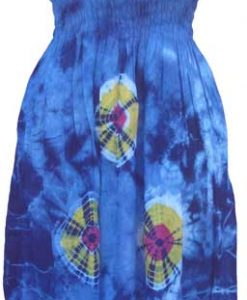 Adult Blue Tie-Dye Dress with Elastic Bodice