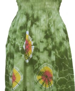 Junior Size Green Tie-Dye Dress with Elastic Bodice