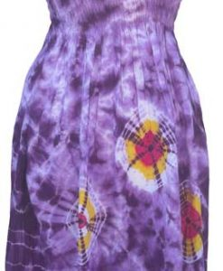 Adult Purple Tie-Dye Dress with Elastic Bodice