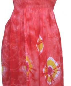 Junior Size Red Tie-Dye Dress with Elastic Bodice
