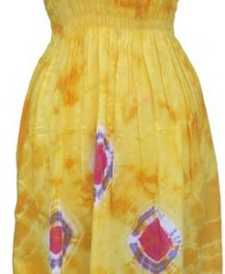 Adult Yellow Tie-Dye Dress with Elastic Bodice