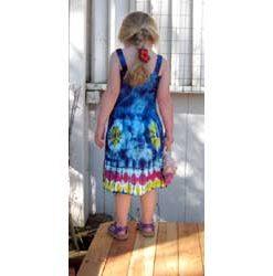 Girl`s Blue Tie-Dye Dress with Elastic Bodice