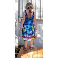 Girl`s Blue Tie-Dye Dress with Elastic Bodice
