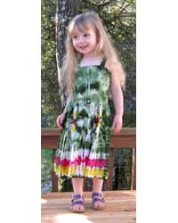 Girl`s Green Tie-Dye Dress with Elastic Bodice