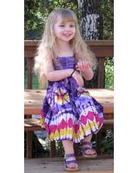 Girl`s Purple Tie-Dye Dress with Elastic Bodice
