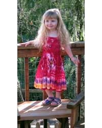 Girl`s Red Tie-Dye Dress with Elastic Bodice