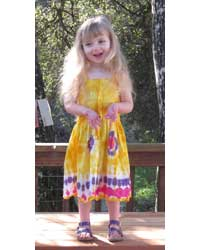 Girl`s Yellow Tie-Dye Dress with Elastic Bodice