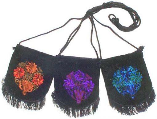 Small Black Velvet Cinch Bag