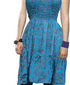 Elastic Bodice Spaghetti Strap Dress in Turquoise and Purple Batik, One Size