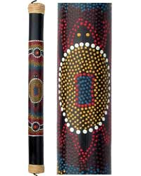 Bamboo Rainstick with Painted Aboriginal Turtle Design, 24 inches long