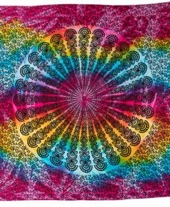 Pareo tie-dye rainbow mandala peacock