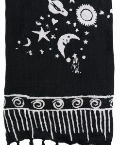 moon stars sarong pareo black white