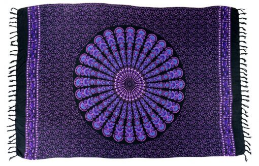 black sarong purple mandala print